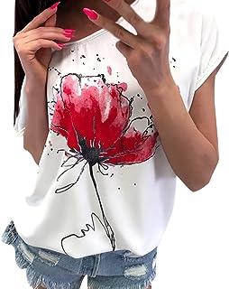 Womens Casual Short Sleeve T-Shirt,Women Casual Floral Print Blouse Short Sleeve Loose Top Shirt Tee