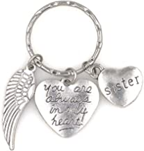 You are Always in My Heart Sister and Angel Wing Charms Keychain AIMH/W/Sister (KC 107M)
