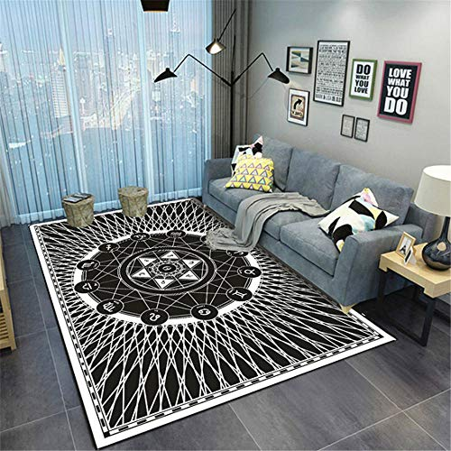 Xiaosua Wear-Resistant Kids Play Room Rug Simple black and white circle and star design pattern living room rug, machine washable cozy stain-resistant Rug Black 180x300cm