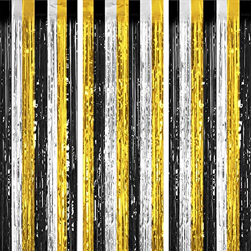 Tifeson 3Pcs Tinsel Foil Fringe Curtain Party Backdrop for Graduation Decoration 2021 3.2 x 8.3 ft - Wedding Baby Shower Birthday High School college Graduations Party Decor (Black&Gold&Silver)