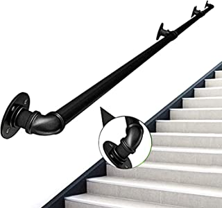Stair Handrail 1-20ft Length, Modern Handrails for Stairs 200lbs Load Capacity, Stairway Railing, Long Steel Pipes Hand Ra...