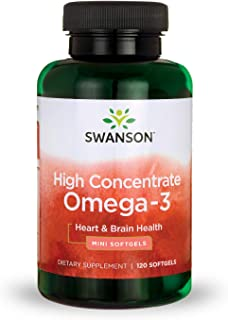 Swanson High Concentrate Omega-3 Fish Oil Essential Fatty Acids Omega 3 Heart Brain Memory Cognitive Function Health Supplement EFAs 720 mg EPA + DHA 680 mg (per 2 Mini Sgel) 120 Softgels