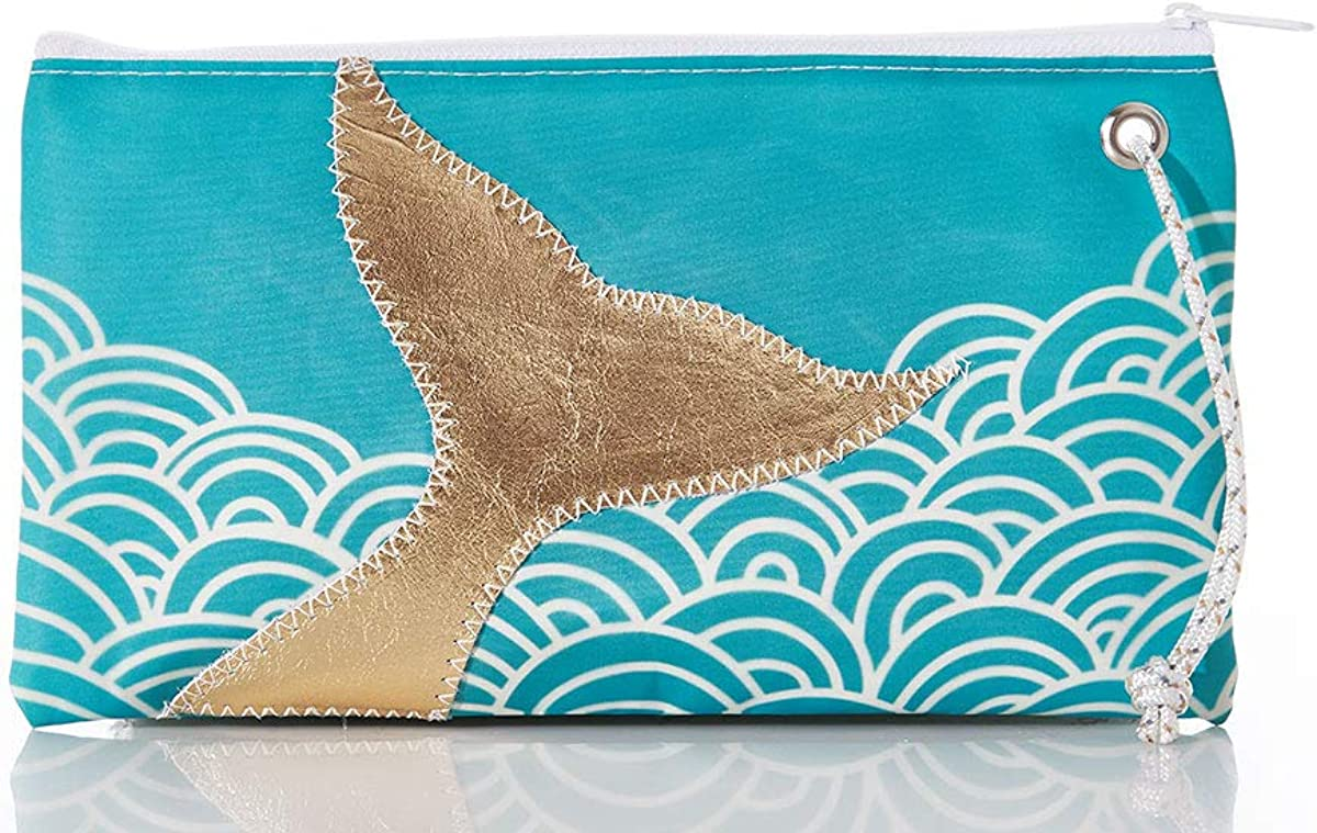 Sea Bags Recycled Sail Cloth Gold Mermaid Tail and Aquamarine Waves Wristlet Large