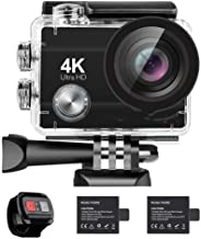 4K Action Camera 16MP Vision 3 Underwater Waterproof Camera 170° Wide Angle WiFi Sports Cam with Remote 2 Batteries and Mo...