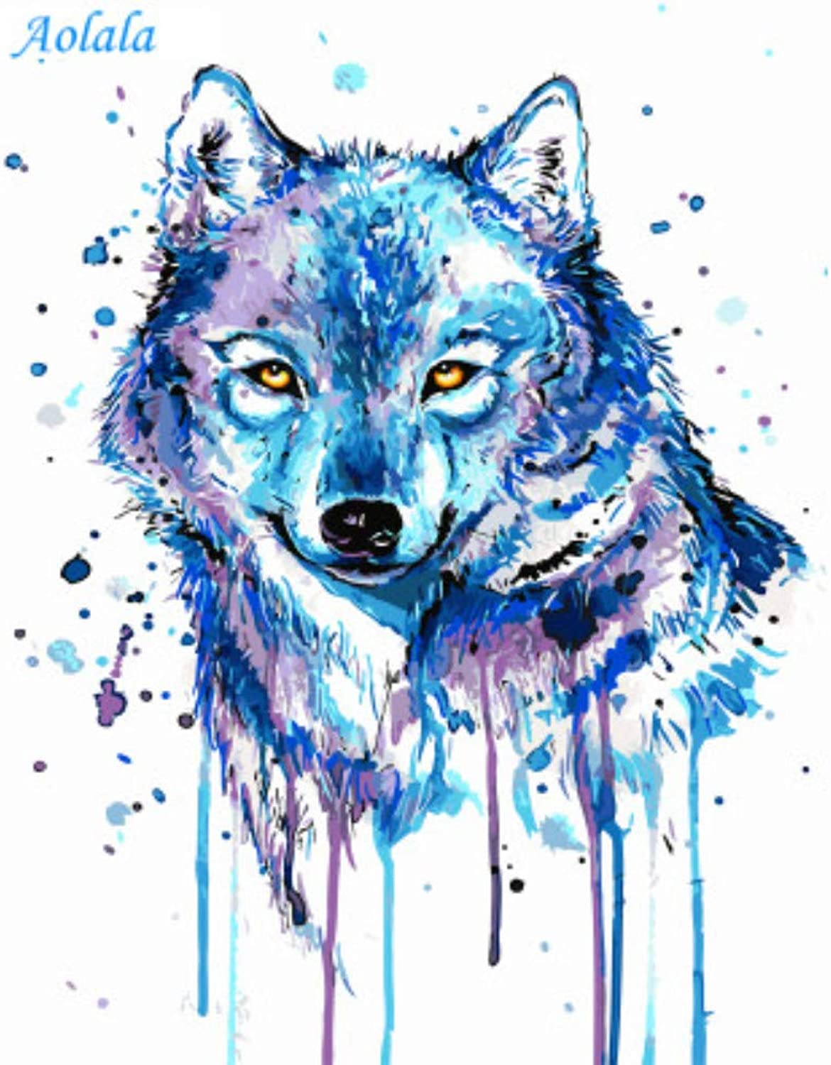 Pictures DIY Painting by Numbers Oil Painting On Canvas Painting and Calligraphy Home Decor of Animal Wolf,50x65cm