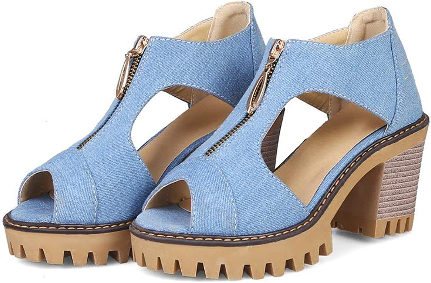 MFairy Chunky Heel Denim Sandals Peep Toe Casual Summer Heeled Sandals