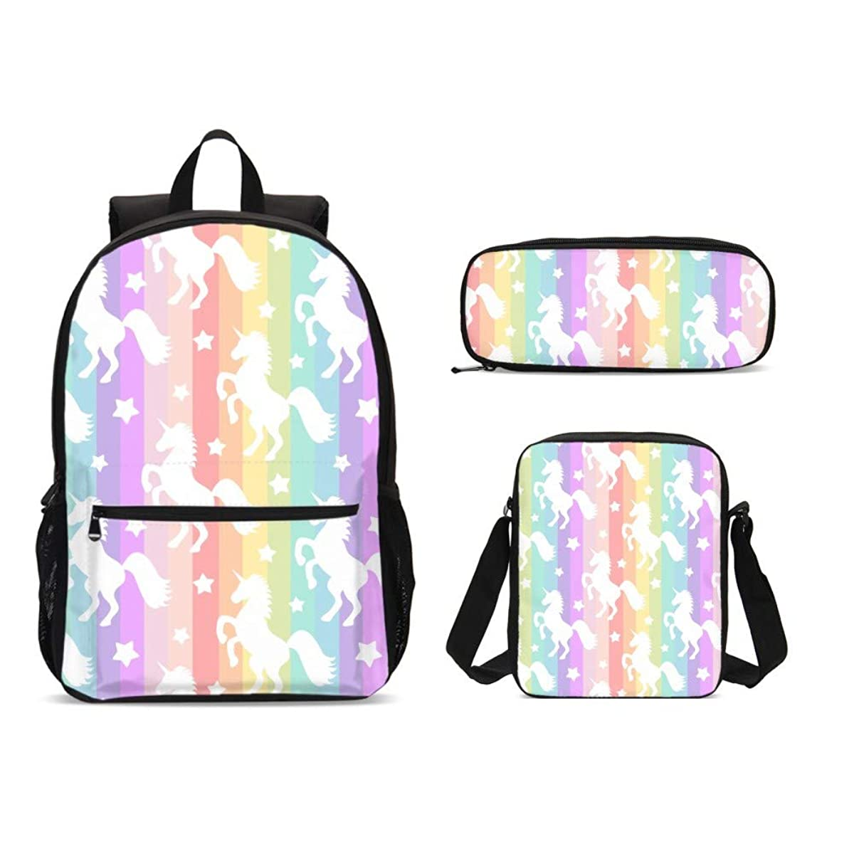Delerain Rainbow Unicorn 3 PCs Backpack Set for Kids Back to School Bookbag with Shouder Bag and Pencil Case Durable Lightweight Travel Laptop for Teens Students Boys Girls