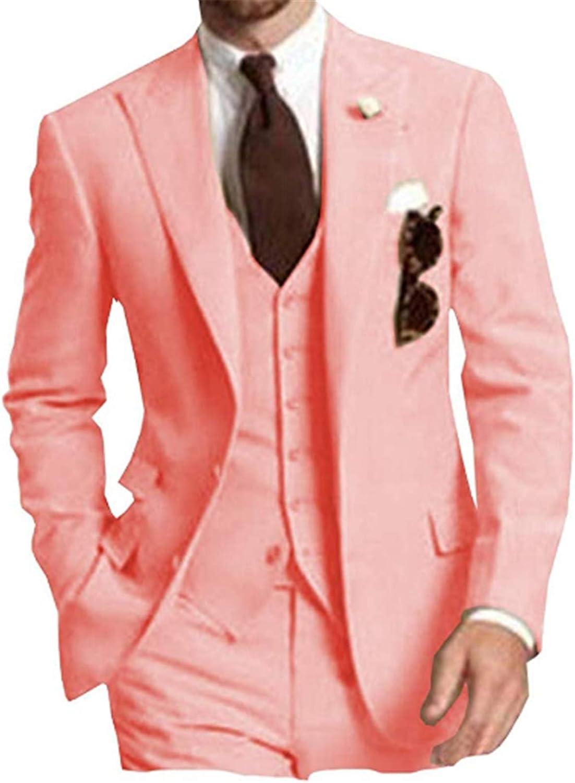 Casual Men Suits(Jacket+Pants+Vest) Slim Fit Blazer Wedding Grooms Tuxedo