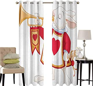 hengshu Alice in Wonderland Black Out Window Curtain 2 Panel Rabbit Playing Royal Trumpet with Heart Design Animal Card Kids Living Room Curtains for Bedroom W52 x L95 Inch White Red Yellow