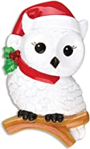 Personalized Snowy Owl Christmas Tree Ornament 2019 - Wise White Bird Red Santa Hat Branch Peppermint Berry Fun Holiday Grand-Son Daughter Love Kid Friend Baby First Gift Year - Free Customization