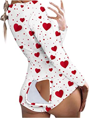 Womens Sexy Butt Flap Pajamas for Women Button-Down Front Functional Buttoned Flap Jumpsuit One Piece Sleepwear