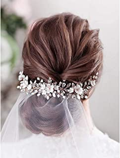 Catery Flower Bride Wedding Headband Leaf Crystal Pearl Rhinestone Hair Vine Braid Babys Breath Headpieces Bridal Hair Accessories for Women (Gold)