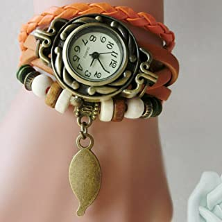 Watches for Women's Women Children Retro LeatherWinding Bracelet Leaf Pendant Watch