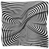 Rotation Movement Abstract OP Art Women's Large Square Satin Head Bandanas Silk Like Neck Scarf