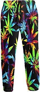 NTQFY Tie Dye Weed Leaves Jogger Pants Quick Dry Sweatpants with Elastic Waist Casual Pants for Men