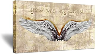 ZingArts Large Vintage Yellow Canvas Wall Art Angel Wings with You are My Angel Inspiration Words The Picture Print On Canvas Stretched and Framed for Baby Room Home Decor Ready to Hang 20x36inch