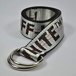"AU New 2019 Off White Adjustable Unisex Metal Buckle Nylon Belt 130Cm Max 48"" Silver"