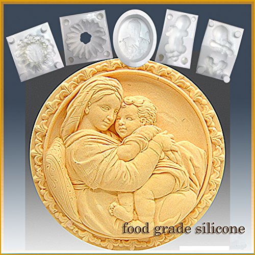 Amazing Deal Mother with Child on Lap - Detail of High Relief Sculpture - Silicone Soap/Sugar/Fondan...