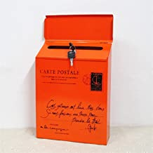 ZHYLing Iron Lock Letter Box Vintage Wall Mount Mailbox Mail Postbrief Krantendoos (Kleur: Oranje)