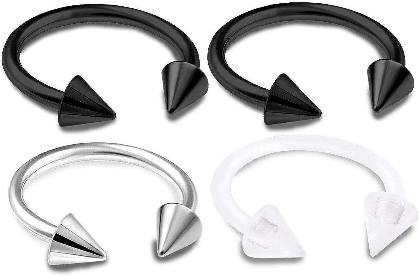 Details about  /2Pc Spike Circular Barbell Ring Ear Cartilage Tragus Piercing Labret Nose Hoop v