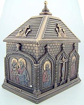 Religious Catholic Gift Cold Cast Bronze 5 7/8 Inch Church Chapel Icon Rosary Keepsake Trinket Box