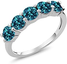 Gem Stone King 925 Sterling Silver London Blue Topaz Women's 5 Stone Band Ring (1.50 Ct Round, Gemstone Birthstone, Available in size 5, 6, 7, 8, 9)
