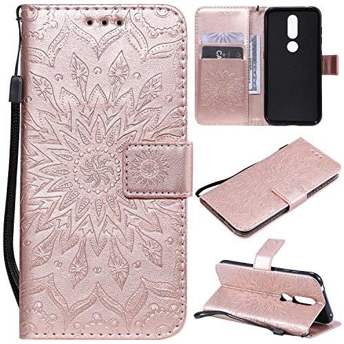 KKEIKO Hülle für Nokia 4.2, PU Leder Brieftasche Schutzhülle Klapphülle, Sun Blumen Design Stoßfest Handyhülle für Nokia 4.2 - Roségold