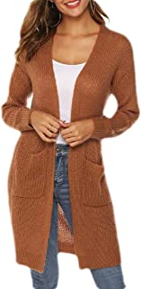 Macondoo Womens Long-Sleeve Plus Size Sweater Knit Coat Thick Cardigans