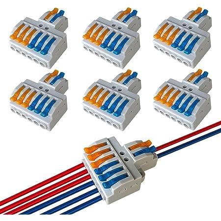 QitinDasen 6Pcs KV426 Palanca Tuerca Cable Conector, 2 en 6 fuera Bilateral 8 Puertos Compacto Conductor Conector, Rápido Cable Conector Resorte Bloque Terminal
