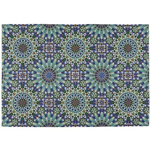 Tafelmatten Outdoor Naadloze Marokkaanse Stijl Mozaïek Tegel Plaatsen Matten Set van 6 Dubbele Stof afdrukken Katoen Linnen