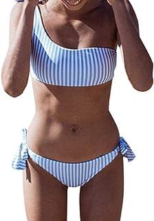 comprar comparacion Yuson Girl Conjuntos De Bikini Rayas Talle Alto Retro Brasileños Mujer Sexy Traje De Baño Cuello Halter Strapless Off Shou...
