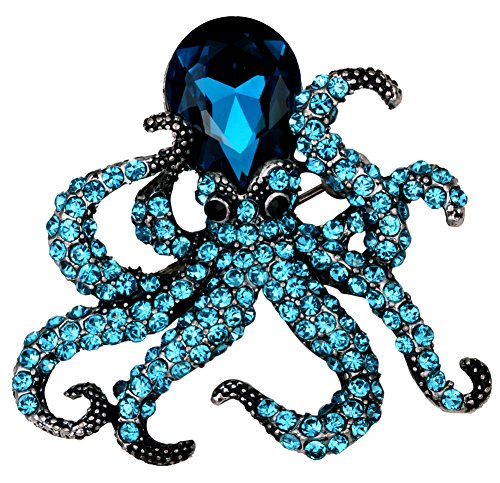 YACQ Jewelry Crystal Creepy Octopus Pin Brooch for Halloween Costume Accessories Party Women Teen Girl 3