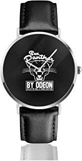 Unisex Business Casual Anchorman Inspired Sex Panther Cologne, Trucker Cap Watches Quartz Leather Watch with Black Leather Band for Men Women Young Collection Gift