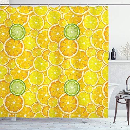 ABAKUHAUS Obst Duschvorhang, Zitronen-Orangen-Kreise, mit 12 Ringe Set Wasserdicht Stielvoll Modern Farbfest & Schimmel Resistent, 175x180 cm, Gelb Weiß & Grün