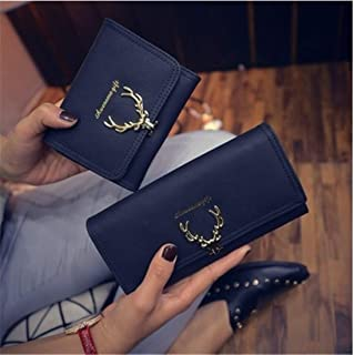 hainan Women Deer Antlers Scrub Long Short Handbags Leather Wallet Card Holders Snap Purses Royal Blue Long Wallet