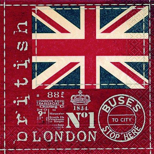 20 servetten Britse vlag - Britse vlaggen/Groot-Brittannië/Londen 33x33cm