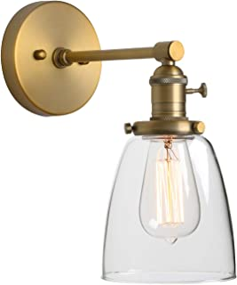 Phansthy Industrial Wall Lamp Antique Single Sconce Light Fixture with 5.5 Inches Dome Clear Glass Shade