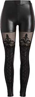 Women's Gothic Punk Lace Up Faux PU Leather Wet Look Leggings Tights Pants