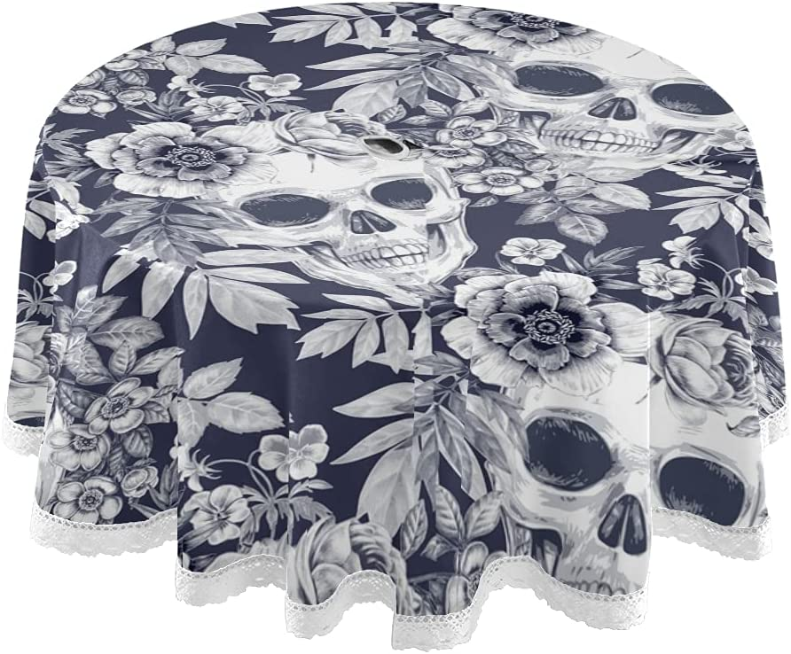 STAYTOP 60in Halloween Tablecloth Flowers Waterproof Limited time Inexpensive for free shipping Skulls Roun