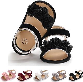 LAFEGEN Baby Girls Summer Sandals Flower Suede Soft Non-Slip Sole Infant Newborn Toddler First Walker Crib Shoes