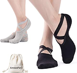 Calcetines de Yoga Antideslizantes para Mujeres, Ideales para Pilates al Aire Libre Medias de Entrenamiento Deportivo con Granos Antideslizantes Negro y Gris 2 Pares