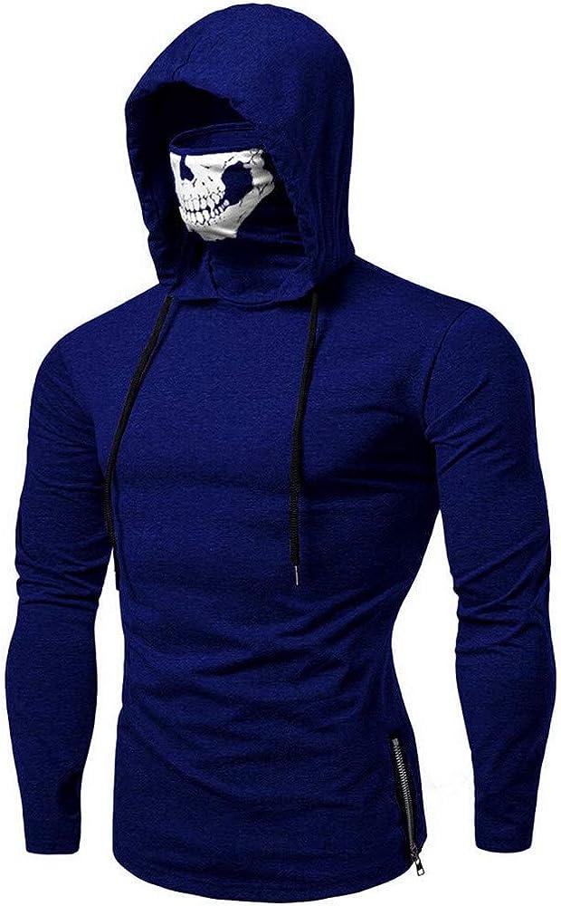Ximandi Mens Skull Mask Pullover Hoodies Long Sleeve Slim Fit Hooded Sweatshirt
