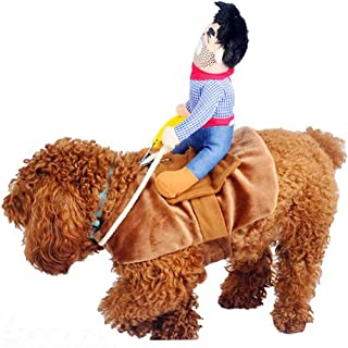 Hotumn Christmas Dog Costume Pet Costume Pet Suit Cowboy Rider Style Dog Halloween Costume Pet Funny Clothes