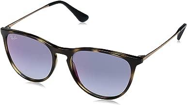 RAY-BAN JUNIOR Kids' RJ9060S Erika Kids Round Sunglasses, Havana/Blue Red Gradient Mirror, 50 mm