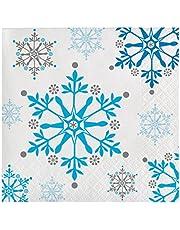 Creative Converting Holiday Snowflake Swirls Beverage Napkins 16-Pieces