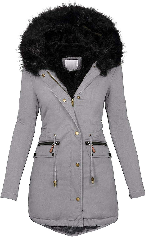 HGWXX7 Jacket for Women Zip Up Faux Fur Hood Parka Jacket Casual Plus Size Waist Drawstring Winter Coats with Pocket Gray