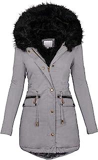 LONLY Damen Dicker Wintermantel Winterparka mit Kapuze Windjacke Taschen Damenjacke Gefütterte Teddyfell Winterjacke Plus ...
