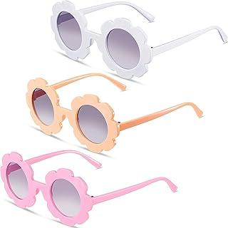 3 Pieces Round Flower Sunglasses Girls Flower Glasses Cute Outdoor Beach Eyewear for Toddler Kids