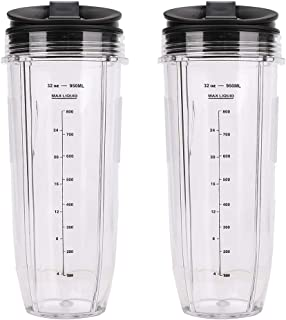 2 Pack Blender 32 oz Large Cups with Sip Seal Lids Tall Cup Container 950ML Replacement Compatible with Nutri Ninja Auto I...