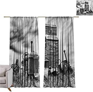 Rod Pocket Blackout Curtains Industrial,Old 60s Abandoned Tractor in Farm in Central Canada Nostalgic Machinery Elements Image,Grey W96 x L96 inch,for Living Room and Bedroom
